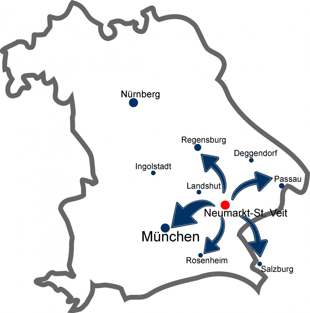 Bayern, Landshut, München, Regensburg, Passau